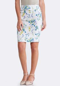 Plus Size Floral White Pull-On Pencil Skirt