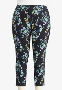 Plus Size Navy Floral Pull-On Ankle Pants