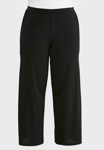 Plus Size Black Side Slit Palazzo Pants