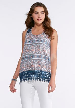 Block Floral Lace Trim Tank