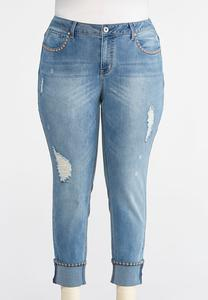 Plus Size Distressed Floral Stitch Jeans