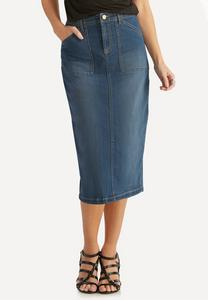 Plus Size Denim Pencil Skirt