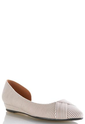 Wide Width Striped Dorsay Flats | Tuggl