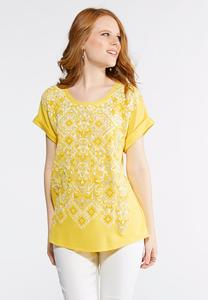 Plus Size Gold Puff Print Shirt