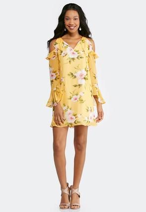 Plus Size Floral Cold Shoulder Swing Dress