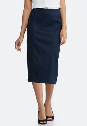 Plus Size Pull- On Denim Pencil Skirt