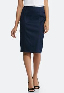 Pull-On Denim Pencil Skirt