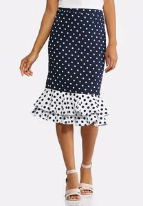 Plus Size Navy Polka Dot Flounced Skirt
