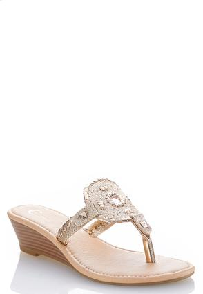 Medallion Thong Gold Wedges at Cato in Brooklyn, NY | Tuggl