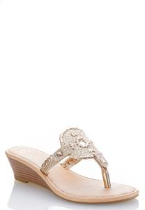 Medallion Thong Gold Wedges