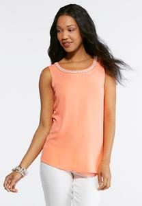 Plus Size Pearl Neck Layering Tank