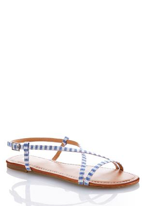 Striped Crossband Fabric Sandals | Tuggl