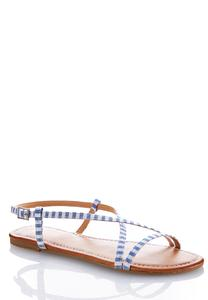 Striped Crossband Fabric Sandals
