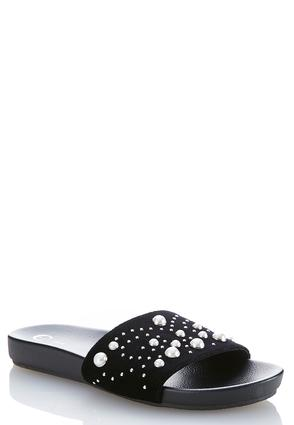 Faux Pearl Slide Sandals | Tuggl