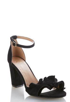 Ruffled Vamp Heeled Sandals