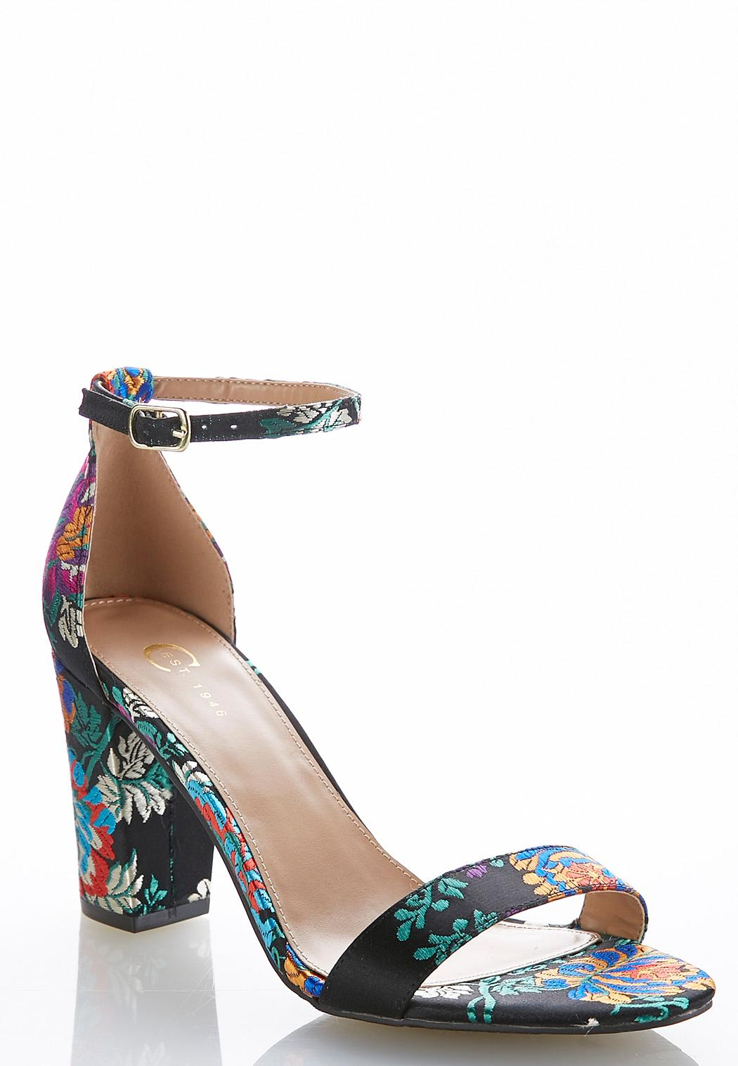 Floral Block Heeled Sandals Sandals Cato Fashions - What is commercial invoice shoe stores online