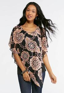 Plus Size Embellished Asymmetrical Capelet