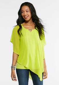Plus Size Asymmetrical Lime Capelet