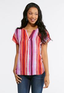Plus Size Orchid Stripe Pullover Top