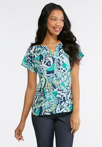 Plus Size Green Butterfly Wing Top