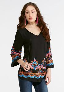 Floral Embroidered Lace Up Poet Top