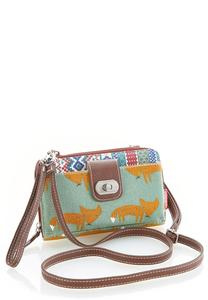 Fox Print Crossbody Wallet
