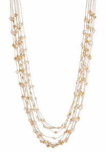 Long Layered Bead Necklace