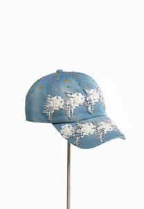 Flower Embellished Denim Cap