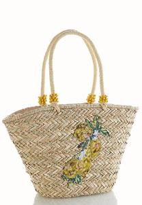 Sequin Embellished Straw Tote