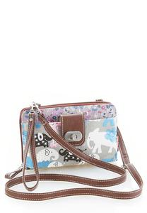 Elephant Print Crossbody Wallet