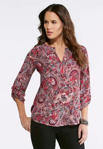 Pink Paisley Popover Top