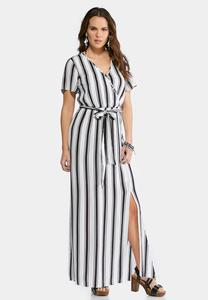 Striped Faux Wrap Maxi Dress