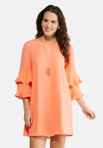 Plus Size Pleated Tiered Sleeve Dress