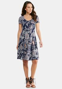 Plus Size Seamed Floral Puff Paisley Dress