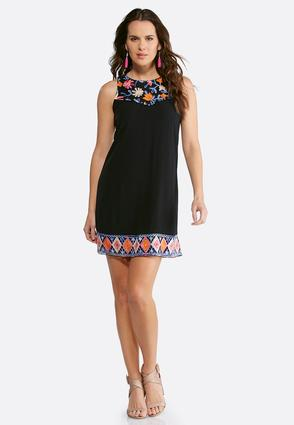 Plus Size Crepe Embroidered Dress | Tuggl