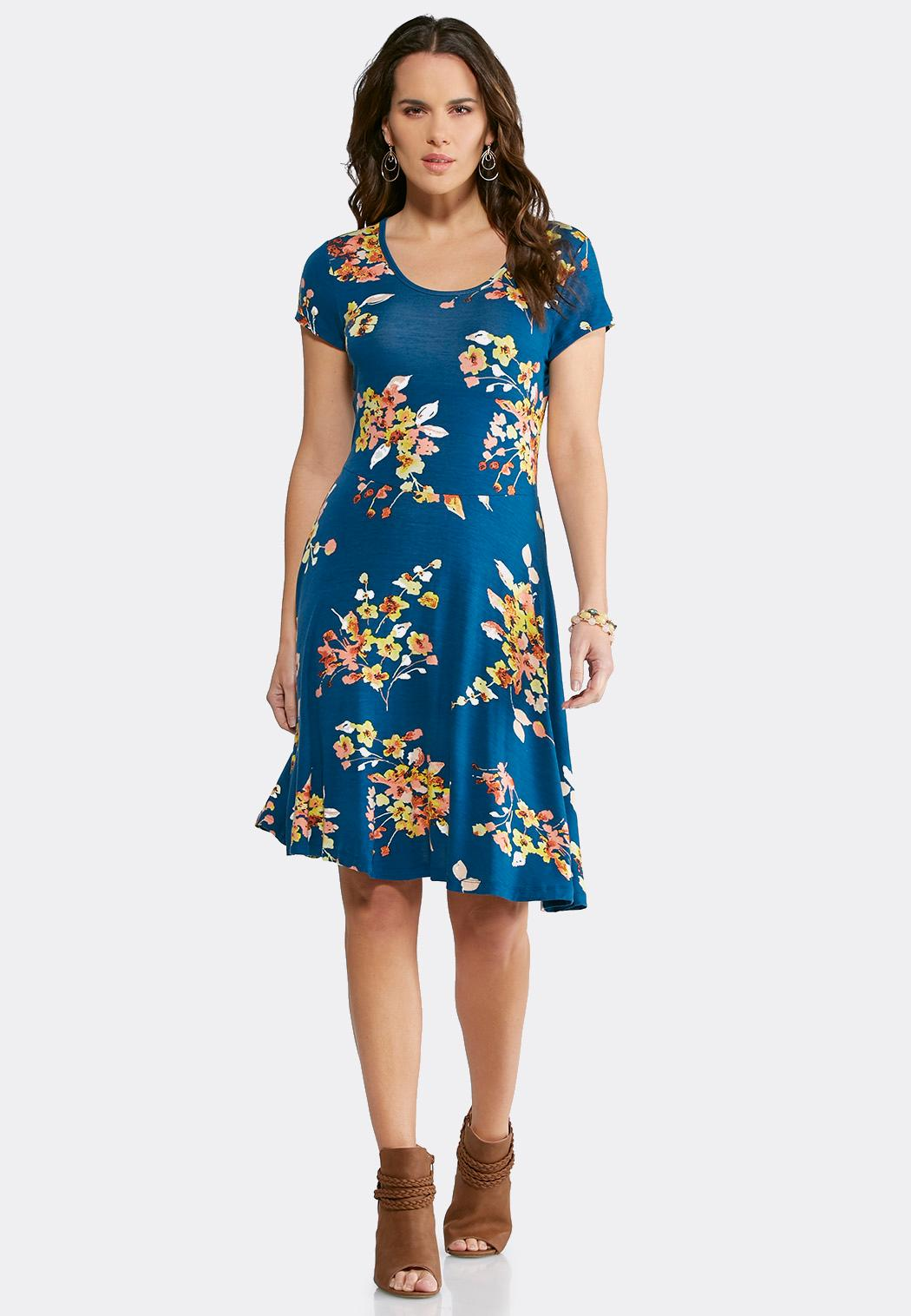 Plus Size Blue Floral Fit And Flare Dress Plus Sizes Cato Fashions