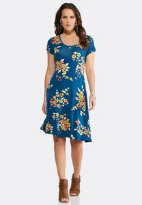 Plus Size Blue Floral Fit And Flare Dress