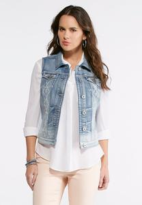 Plus Size Pearl Embellished Denim Vest