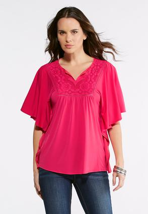 Pink Lace Poncho Top