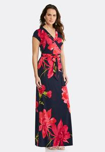 Plus Size Surplice Floral Maxi Dress