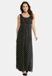 Black and White Polka Dot Maxi Dress