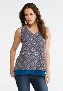 Plus Size Blue Layered Medallion Top