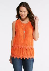 Plus Size Crinkled Layered Lace Tank