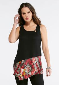 Floral Solid Asymmetrical Tank
