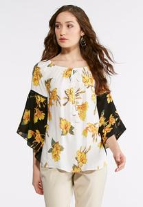 Mixed Floral Bell Sleeve Poet Top-Plus