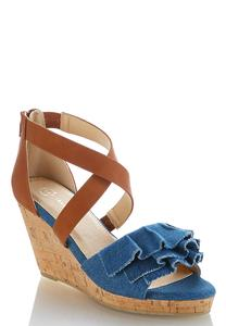 Denim Ruffle Platform Wedges
