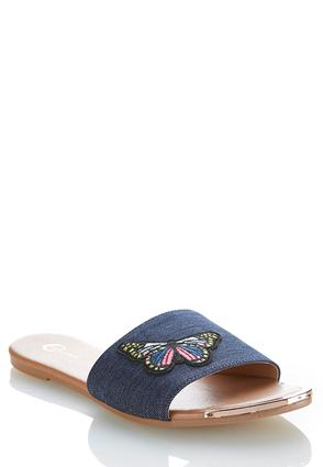 Butterfly Patch Denim Slides at Cato in Brooklyn, NY | Tuggl
