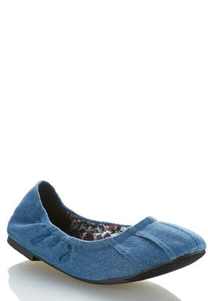 Denim Scrunch Flats | Tuggl