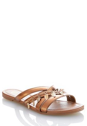 Leaf Charm Metallic Sandals   Tuggl
