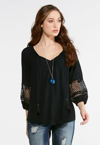 Crochet Trim Tassel Neck Poet Top